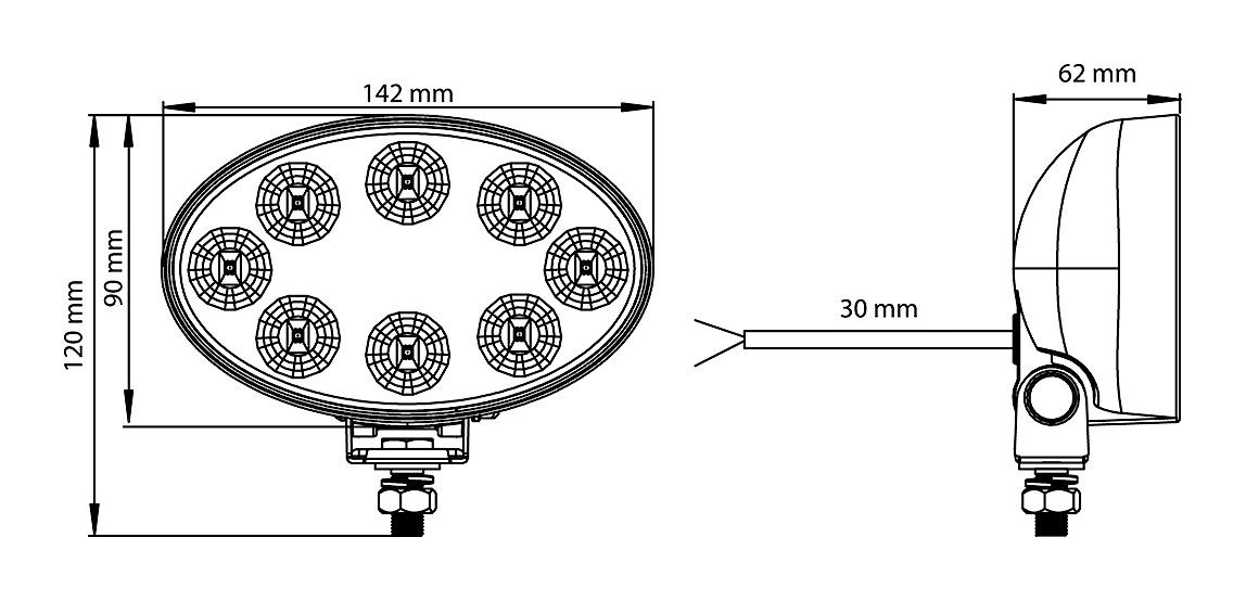 LED PRACOVNÍ SVĚTLOMET - 1560 LUMENŮ, 10-33V + 0,35 m KABEL
