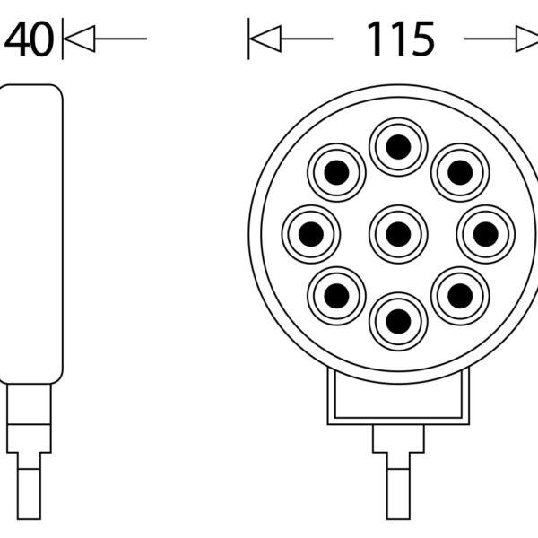 LED PRACOVNÍ SVĚTLOMET - 2200 LUMENŮ, 9-33V + 0,35 m KABEL