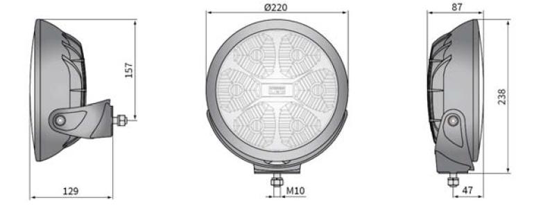 LED DÁLKOVÝ SVĚTLOMET s dosvitem 550m - S LED OBRYSOVÝM SVĚTLEM, 12-24V, 0,5 m KABEL, 220 x 87 mm