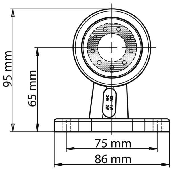 LED OBRYSOVÁ SVÍTILNA ČERVENO-ČIRÁ + 0,2 m KABEL