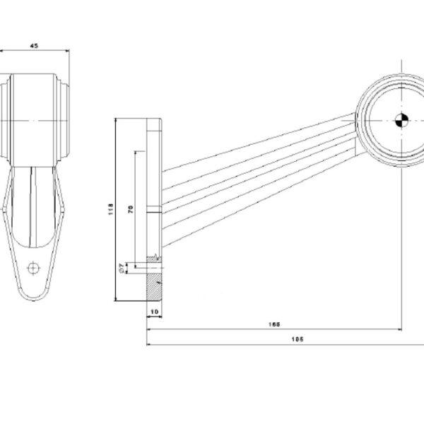 LED OBRYSOVÁ SVÍTILNA ČERVENO-ČIRÁ NA PRYŽOVÉM RAMENI + 0,5 m KABEL