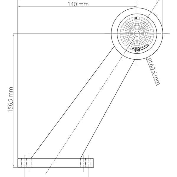 LED OBRYSOVÁ SVÍTILNA ČERVENO-ČIRÁ NA PRYŽOVÉM RAMENI 60° + 0,2 m KABEL