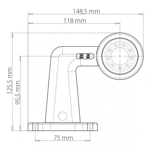 LED OBRYSOVÁ SVÍTILNA ČERVENO-ČIRÁ NA PRYŽOVÉM RAMENI 90° + 0,2 m KABEL