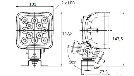 LED ZADNÍ COUVACÍ / PRACOVNÍ SVĚTLOMET 12V / 24V + 2,5 m KABEL
