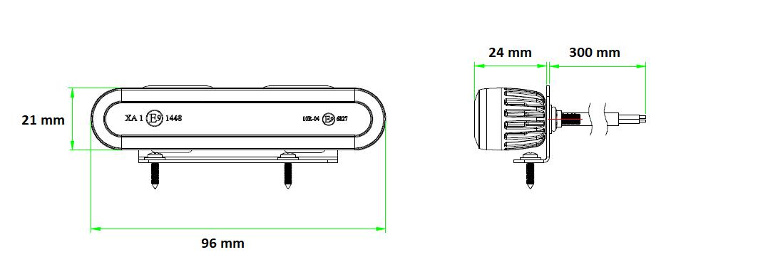 LED VÝSTRAŽNÉ SVĚTLO ORANŽOVÉ + 0,3 m KABEL, 12-24V