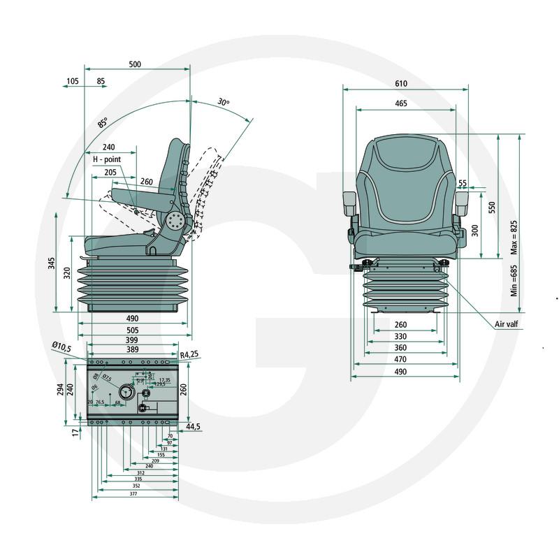 Traktorová sedačka, vzduchově odpružená